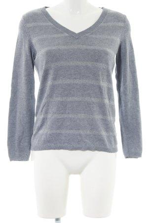Tommy Hilfiger V-Ausschnitt-Pullover hellgrau-wollweiß Streifenmuster