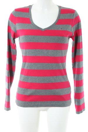 Tommy Hilfiger V-Ausschnitt-Pullover pink-hellgrau meliert Casual-Look