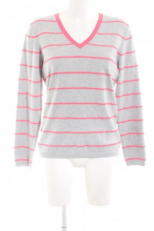 Tommy Hilfiger V-Ausschnitt-Pullover hellgrau-pink Allover-Druck Business-Look