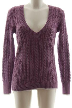 Tommy Hilfiger V-Ausschnitt-Pullover lila Zopfmuster Casual-Look