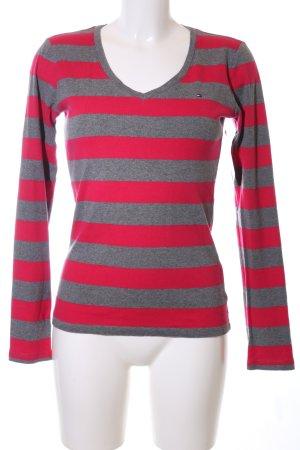 Tommy Hilfiger V-Ausschnitt-Pullover rot-hellgrau Streifenmuster Casual-Look