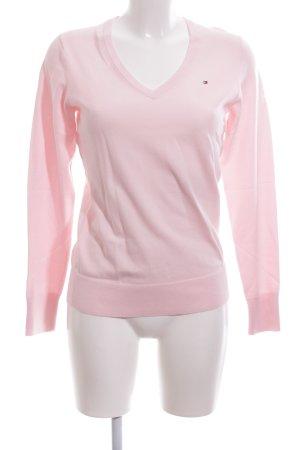 Tommy Hilfiger Jersey con cuello de pico rosa look casual