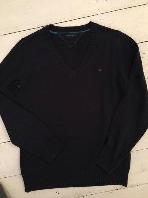 Tommy Hilfiger V-Neck Sweater dark blue cotton