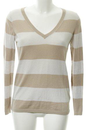 Tommy Hilfiger V-Ausschnitt-Pullover beige-hellbeige Streifenmuster Casual-Look