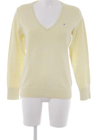 Tommy Hilfiger V-Ausschnitt-Pullover blassgelb Casual-Look