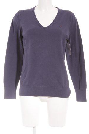 Tommy Hilfiger V-Ausschnitt-Pullover blauviolett Casual-Look
