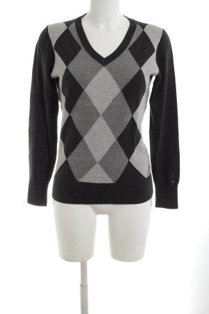 Tommy Hilfiger V-Ausschnitt-Pullover schwarz-hellgrau grafisches Muster