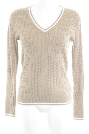 Tommy Hilfiger V-Ausschnitt-Pullover camel-weiß Streifenmuster Casual-Look