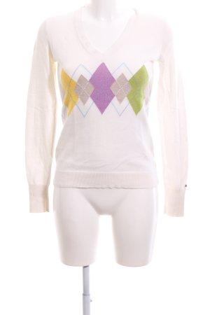 Tommy Hilfiger V-Ausschnitt-Pullover weiß abstraktes Muster Elegant