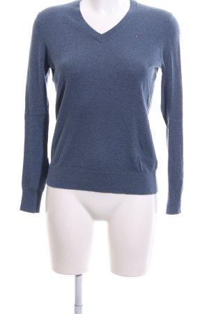 Tommy Hilfiger V-Ausschnitt-Pullover blau meliert Casual-Look