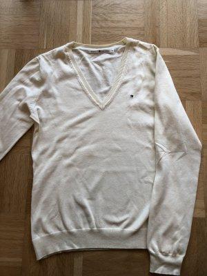 Tommy Hilfiger V-Ausschnitt Pullover creme