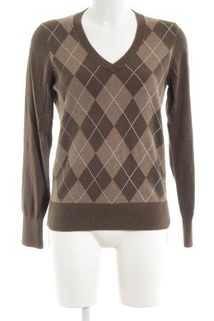 Tommy Hilfiger V-Ausschnitt-Pullover braun-weiß grafisches Muster Casual-Look