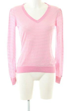 Tommy Hilfiger V-Ausschnitt-Pullover pink-wollweiß Streifenmuster Casual-Look