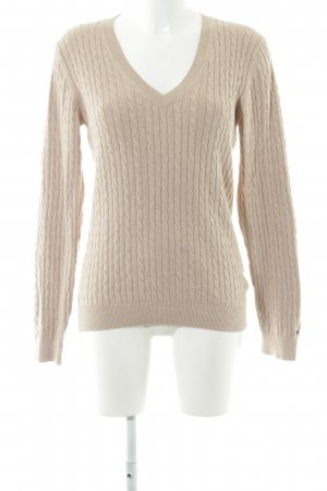 Tommy Hilfiger V-Ausschnitt-Pullover wollweiß-nude Zopfmuster Casual-Look
