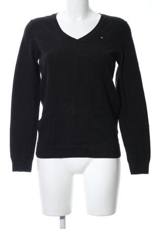 Tommy Hilfiger V-Ausschnitt-Pullover schwarz Casual-Look