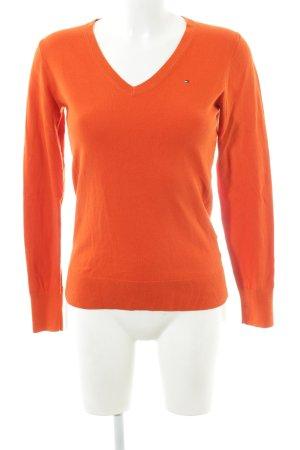 Tommy Hilfiger Jersey con cuello de pico naranja claro look casual