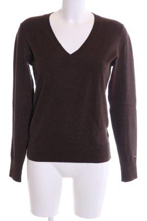 Tommy Hilfiger V-Ausschnitt-Pullover braun Business-Look