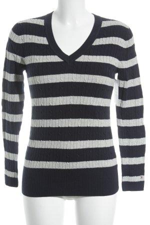 Tommy Hilfiger V-Ausschnitt-Pullover dunkelblau-hellgrau College-Look