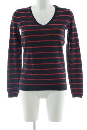 Tommy Hilfiger V-Ausschnitt-Pullover dunkelblau-hellrot Streifenmuster