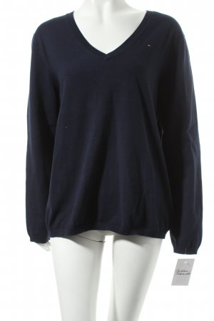 Tommy Hilfiger V-Ausschnitt-Pullover dunkelblau klassischer Stil