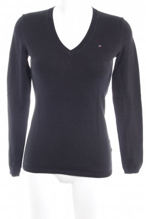 Tommy Hilfiger V-Ausschnitt-Pullover dunkelblau Webmuster Casual-Look