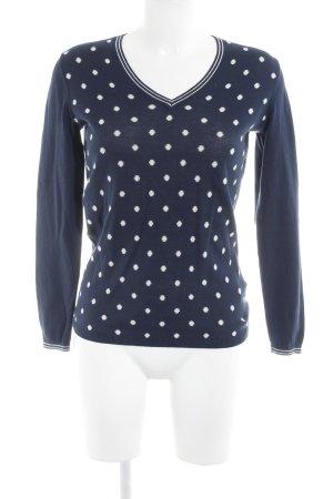 Tommy Hilfiger V-Ausschnitt-Pullover dunkelblau-weiß Punktemuster Casual-Look