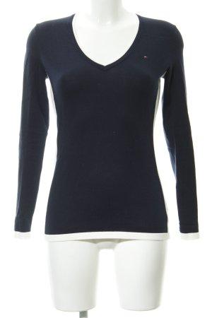 Tommy Hilfiger V-Ausschnitt-Pullover dunkelblau-weiß schlichter Stil