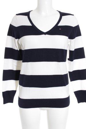 Tommy Hilfiger V-Ausschnitt-Pullover dunkelblau-weiß Streifenmuster