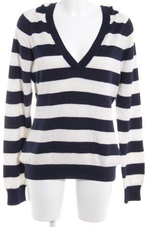 Tommy Hilfiger V-Ausschnitt-Pullover dunkelblau-wollweiß Streifenmuster