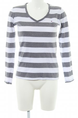 Tommy Hilfiger V-Ausschnitt-Pullover dunkelgrau-wollweiß Streifenmuster