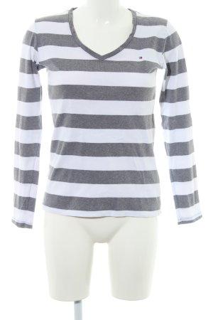 Tommy Hilfiger V-Neck Sweater dark grey-natural white striped pattern