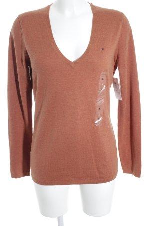 Tommy Hilfiger V-Ausschnitt-Pullover dunkelorange-apricot Casual-Look