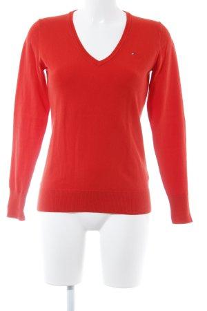 Tommy Hilfiger V-Ausschnitt-Pullover dunkelorange Casual-Look