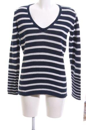 Tommy Hilfiger V-Ausschnitt-Pullover schwarz-weiß Streifenmuster