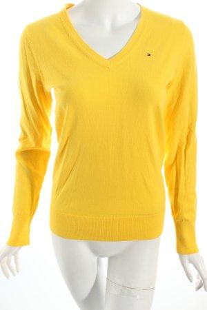 Tommy Hilfiger V-Ausschnitt-Pullover gelb sportlicher Stil