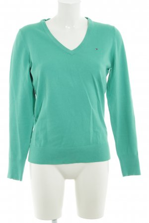 Tommy Hilfiger V-Ausschnitt-Pullover grasgrün Casual-Look