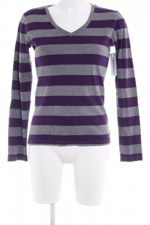 Tommy Hilfiger V-Neck Sweater grey-lilac striped pattern casual look