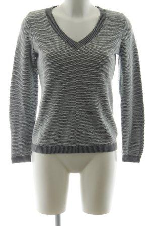 Tommy Hilfiger V-Ausschnitt-Pullover grau-weiß Webmuster Casual-Look