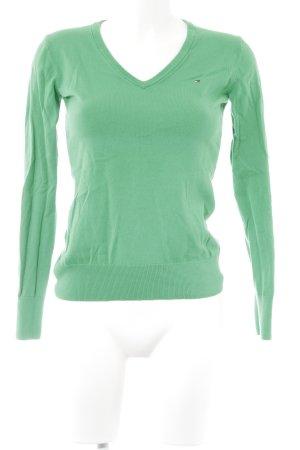 Tommy Hilfiger V-Ausschnitt-Pullover grün minimalistischer Stil