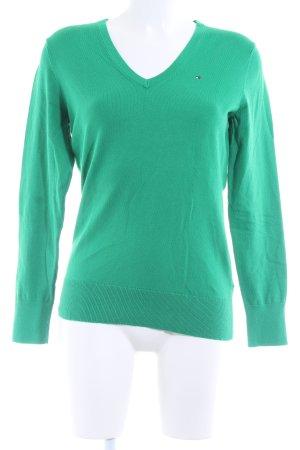 Tommy Hilfiger V-Ausschnitt-Pullover grün schlichter Stil