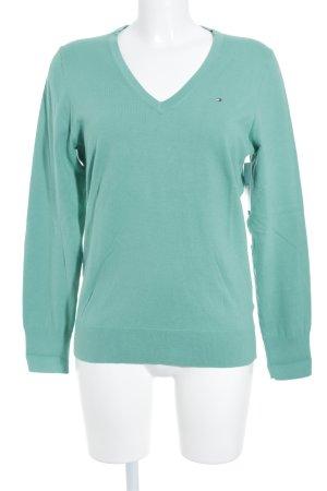 Tommy Hilfiger V-Ausschnitt-Pullover grün sportlicher Stil