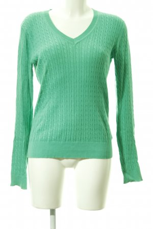 Tommy Hilfiger V-Neck Sweater green weave pattern casual look