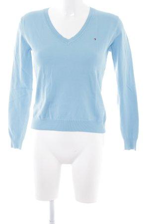 Tommy Hilfiger V-Ausschnitt-Pullover hellblau schlichter Stil