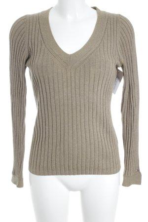 Tommy Hilfiger V-Ausschnitt-Pullover hellbraun schlichter Stil