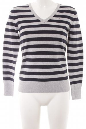 Tommy Hilfiger V-Neck Sweater light grey-dark blue striped pattern casual look