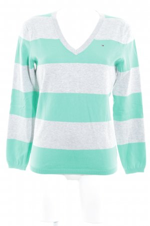 Tommy Hilfiger V-Neck Sweater light grey-green striped pattern casual look