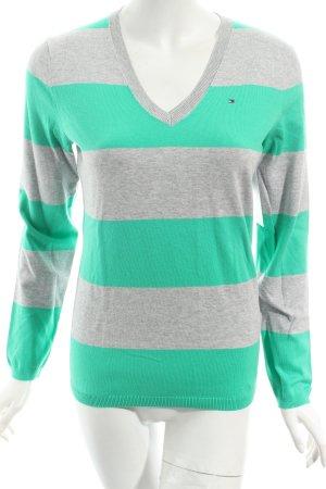 Tommy Hilfiger V-Ausschnitt-Pullover hellgrau-mint Ringelmuster Casual-Look