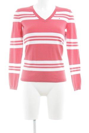 Tommy Hilfiger Pull col en V rouge clair-blanc motif rayé style décontracté