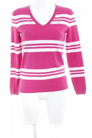 Tommy Hilfiger V-Neck Sweater raspberry-red-natural white striped pattern