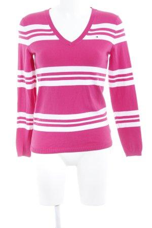 Tommy Hilfiger V-Ausschnitt-Pullover himbeerrot-wollweiß Streifenmuster